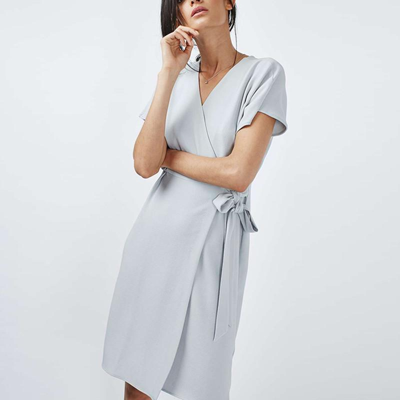 HDY Haoduoyi Summer Fashion Women Solid Blue V-neck High Waist Mini Dress Short Sleeve Waist Belt A-line Wrap Dress-Dress-SheSimplyShops