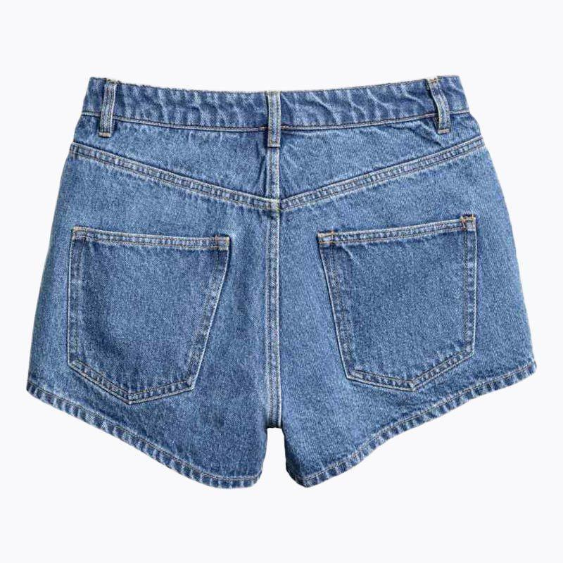 Blue Distressed Color Block Short Jeans Flower Embroidery Pockets Denim Short Pants Casual Slim Shorts-JEANS-SheSimplyShops