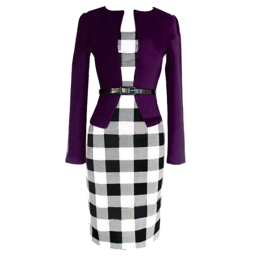 3 Colors Plaid Two Pieces OL Work Midi Bodycon Dress-Dress-SheSimplyShops