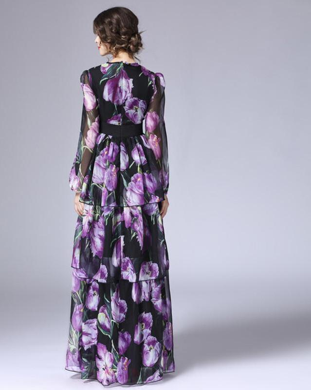 LD LINDA DELLA New Fashion Runway Maxi Dress Women's Long Sleeve Vintage Tiered Tulip Floral Printed Long Dress-Dress-SheSimplyShops