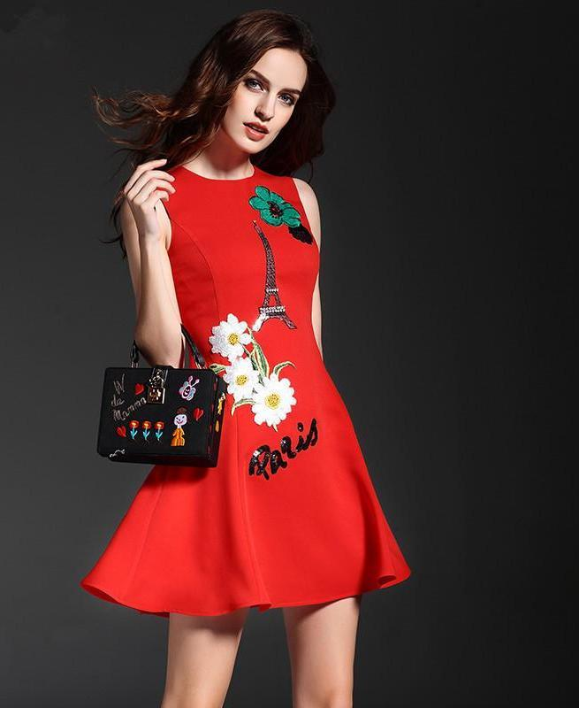 Fashion Designer Runway Dress Women's Sleeveless Tank Flowers Embroidery iron tower Sequined Letter Red Mini Short Dress-Dress-SheSimplyShops