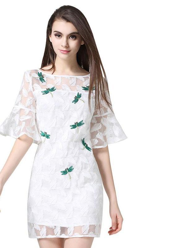HEE GRAND New Fashion White A-Line Dress Women Butterflies Mini Ladies' Dress Half Flare Sleeve Summer Dress WQS1819-Dress-SheSimplyShops
