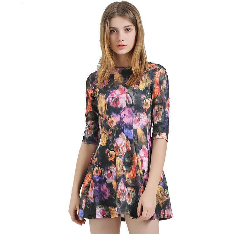 Women Dress Vintage Fashion Flower Printed Empire Waist O-Neck Ladies Vestidos Half Sleeve Mini WQL3725-Dress-SheSimplyShops