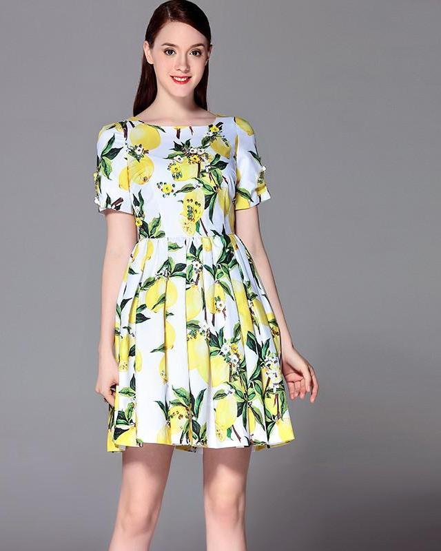 High Quality Summer New Women Lemon Print Dress Noble Beading Above Knee Mini Pleated Dress Runway Brand Casual Dress-Dress-SheSimplyShops
