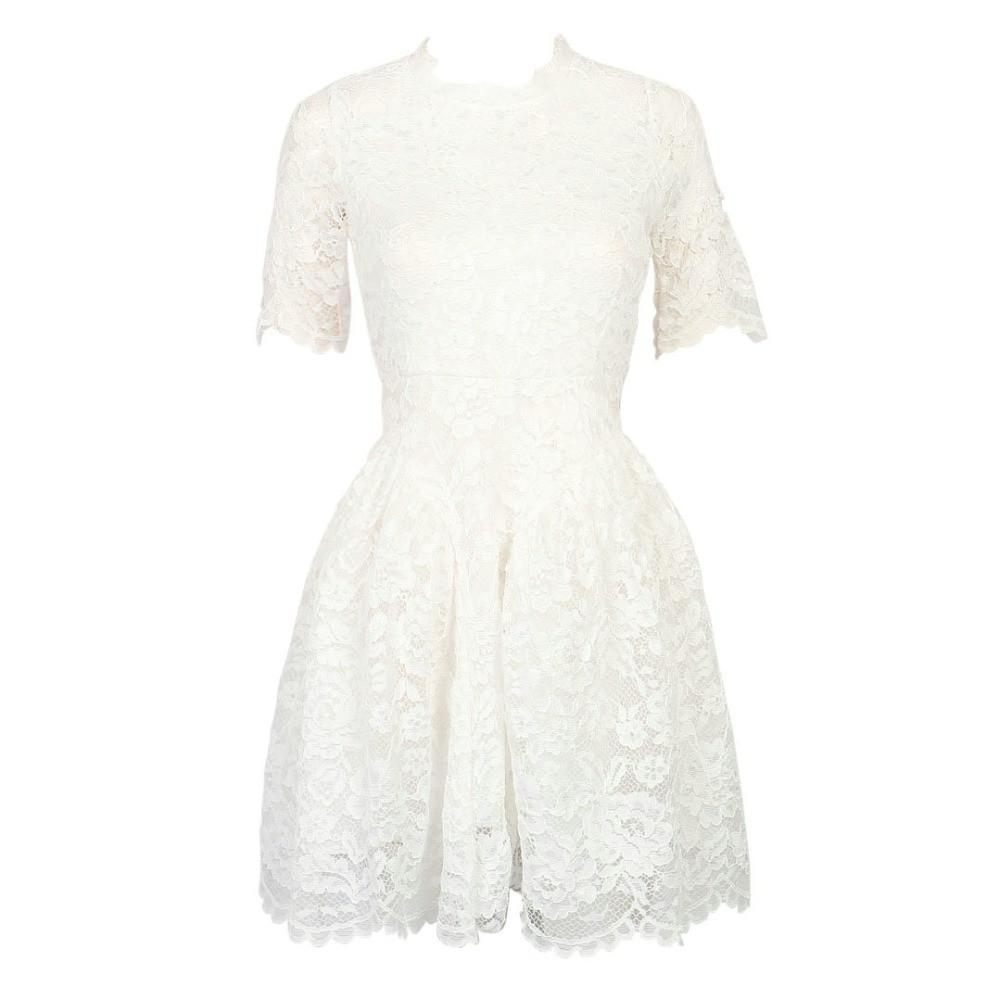 Short Sleeve Lined Lace Mini Dress-Dress-SheSimplyShops