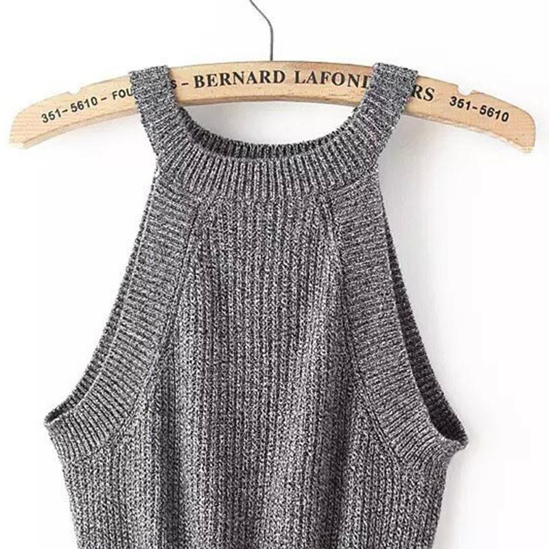 New Womens Halter Cut Away Tight Knit Crop Top Cropped Top Sleeveless Camis Tank Tops Beach Sweater Tops-SWEATERS + CARDIGANS-SheSimplyShops
