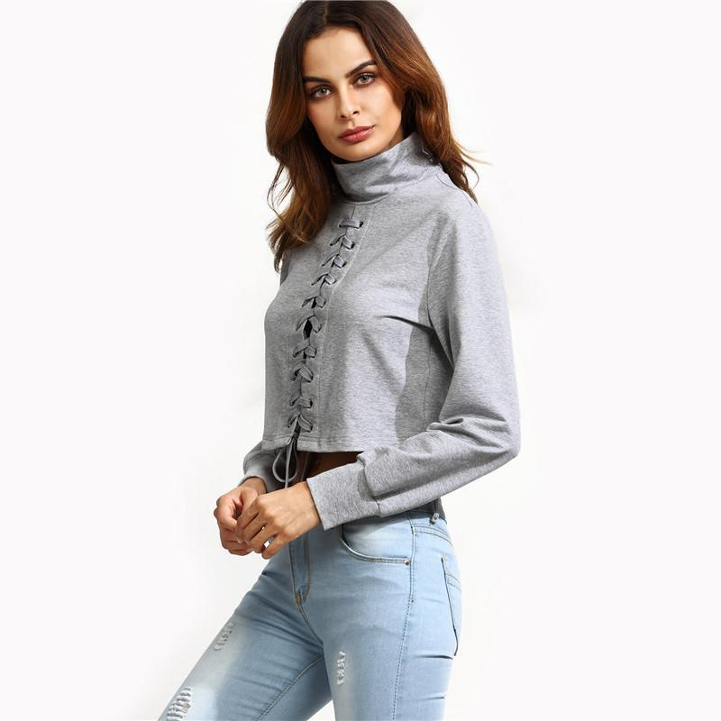 SheIn Womens Casual Pullovers For Autumn New Style Ladies Heather Grey High Neck Lace Up Long Sleeve Crop Sweatshirt-HOODIES-SheSimplyShops
