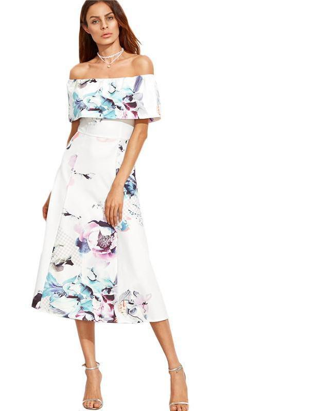SheIn Off The Shoulder Dresses For Women Summer Style White Slash Neck Ruffle Short Sleeve Floral A Line Midi Dress-Dress-SheSimplyShops