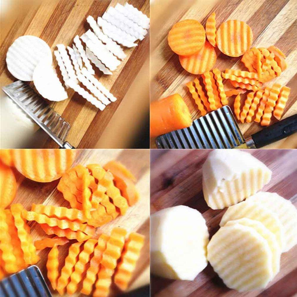 Chip Dough Vegetable Carrot Blade Potato Crinkle Wavy Cutter Slicer Stainless kitchen accessories tools-ACCESSORIES-SheSimplyShops