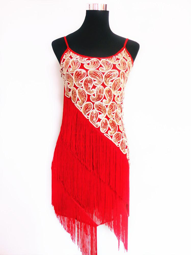 Vintage Themed Party Flapper Fringe Clubwear Great Gatsby Sequined Strap Latin Dance Mini Dress Big Size-Dress-SheSimplyShops