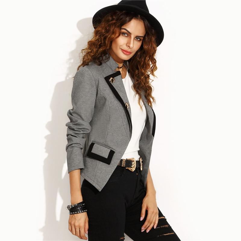 SheIn Autumn Ladies Casual Short Jackets Womens Grey Notch Lapel Single Breasted Pocket Long Sleeve Fitted Work Wear Blazer-Coats & Jackets-SheSimplyShops