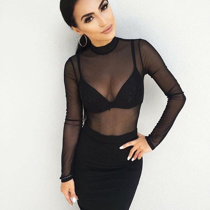 High Neck See Through Mesh Bodysuits-ROMPERS & JUMPSUITS-SheSimplyShops