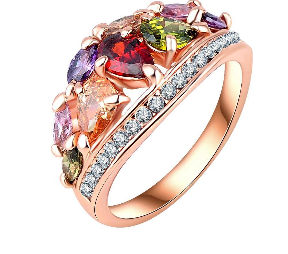 LZESHINE New Arrival Multicolor Fashionable Ring for Women Rose Gold Plated with AAA Zircon Rings Ri-HQ0401-A-SheSimplyShops
