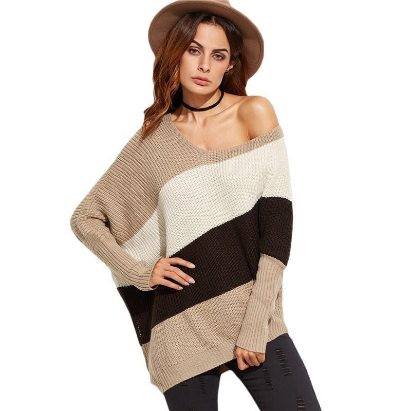 SheIn Women Sweaters and Pullovers Color Block Asymmetrical Dolman Sleeve Knit Oversized Sweater Korean Womens Sweaters-SWEATERS + CARDIGANS-SheSimplyShops