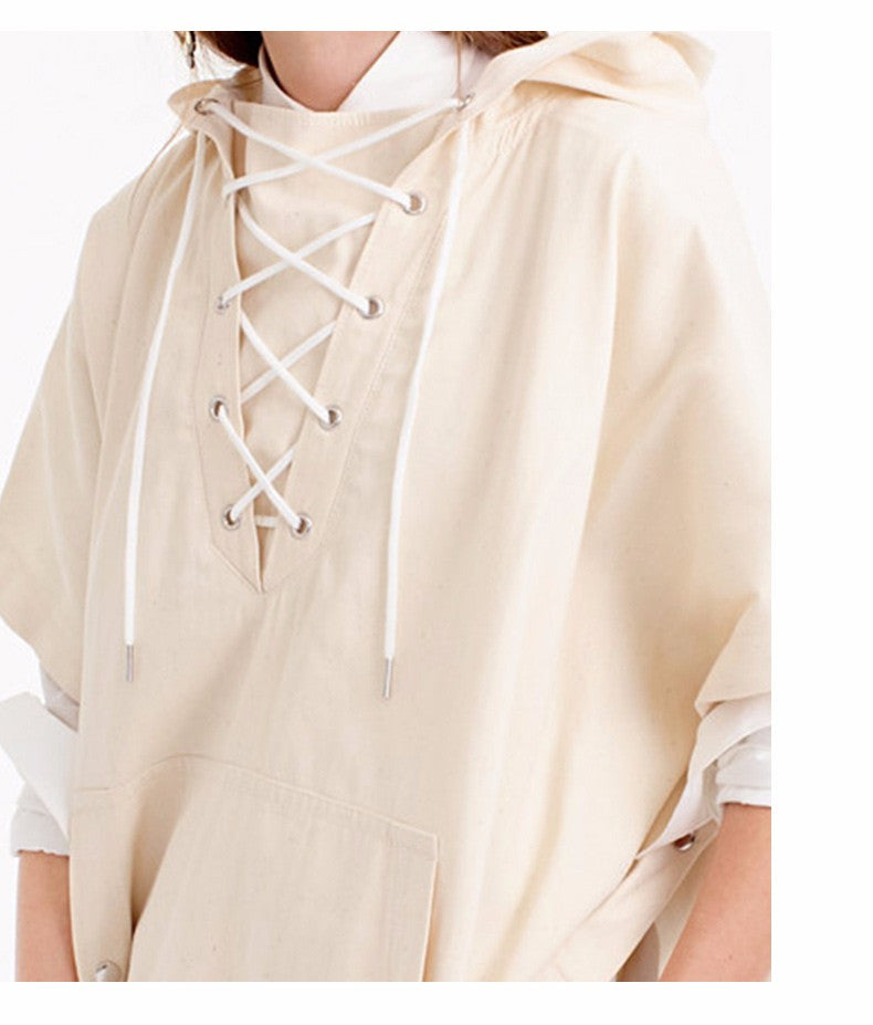 New Fashion Autumn Women Beige Solid Lace Up Front Hooded Cape Poncho Trench Coat Belt Pleated Outwear-Coats & Jackets-SheSimplyShops