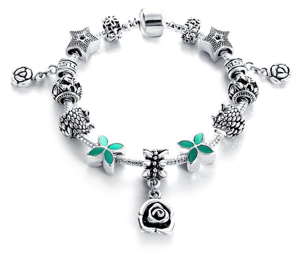 LZESHINE Authentic Silver Antique Fine Bracelets & Bangles for Women Bead Fit Original Charm Bracelets-BRACELETS-SheSimplyShops