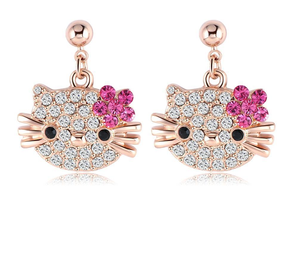 LZESHINE Lovely Cat Flower Stud Earring for Girls Rose Gold Plated Austrian Crystal Kitten Earings SWA Elements ER0109-A-EARRINGS-SheSimplyShops