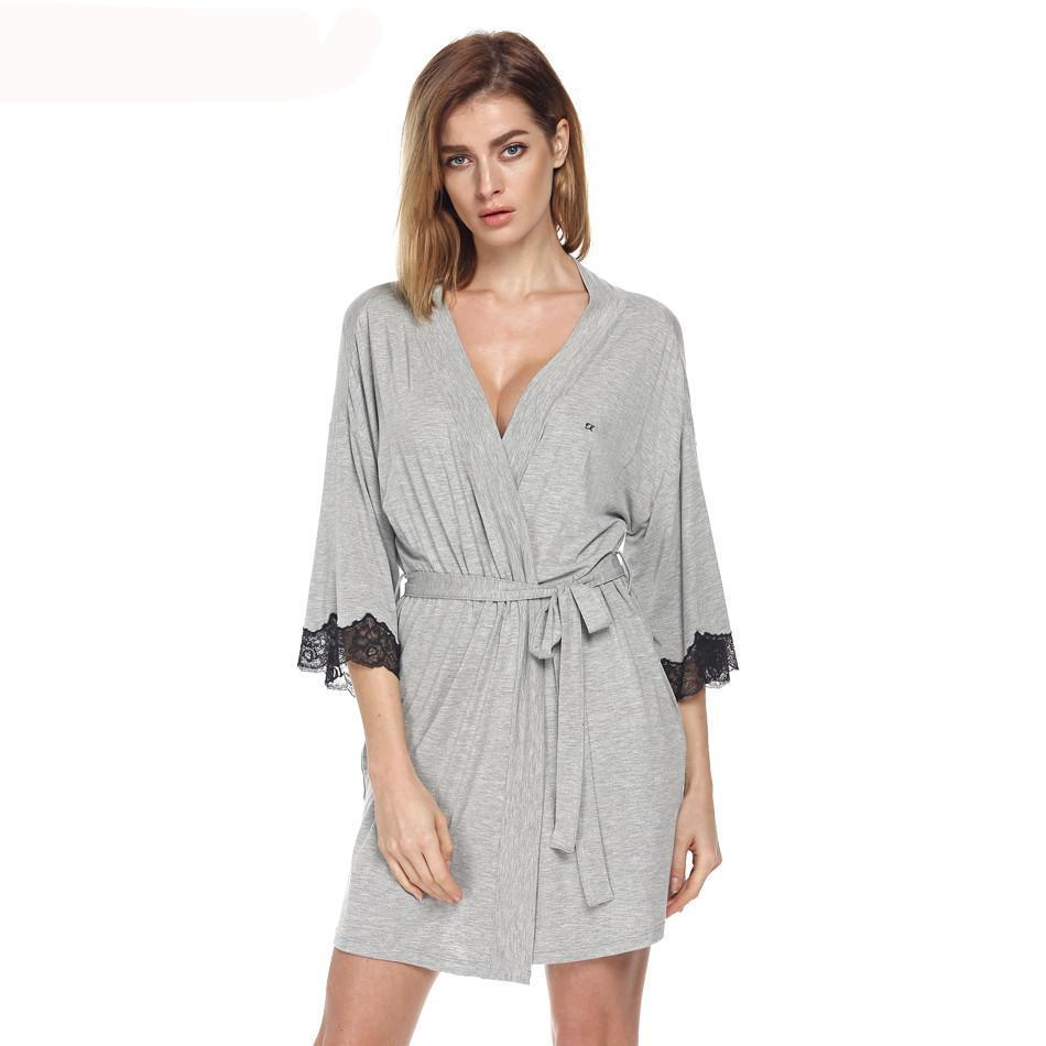 Women Sleepwear Nightwear Kimono Robe Soild Winter Autumn Casual Cotton Bathrobe Belt Elegant Bathroom-Dress-SheSimplyShops