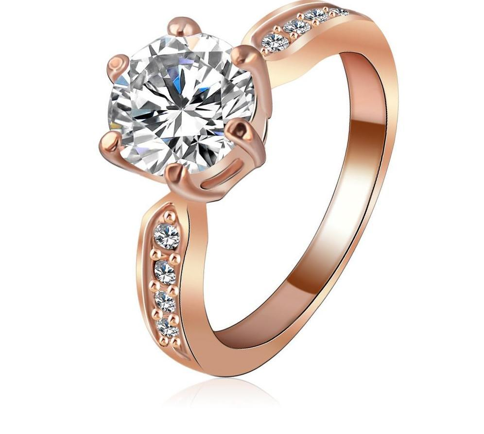 Wedding Jewelry Ring Rose Gold /Silver Plated Round AAA Zircon Women Finger Ring-JEWELRY-SheSimplyShops