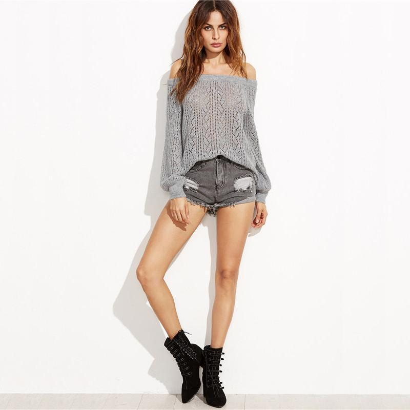 Off The Shoulder Grey Lantern Knitwear Pullover-SWEATERS + CARDIGANS-SheSimplyShops