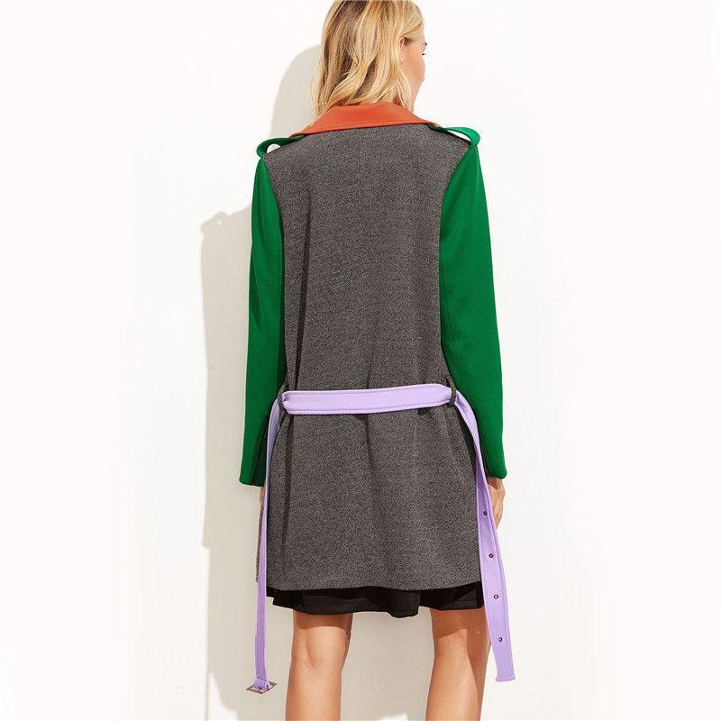 Asymmetric Long Sleeve Multicolor Belted Coat-Coats & Jackets-SheSimplyShops