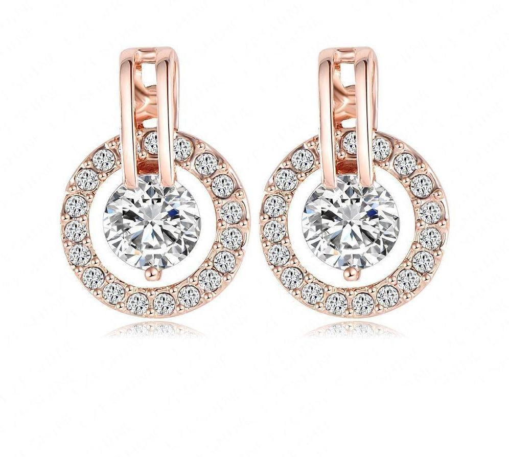 Classic Luxury Circle Earrings Jewelry Rose Gold Plate Austrian Crystal Studs Earring Pendientes-EARRINGS-SheSimplyShops