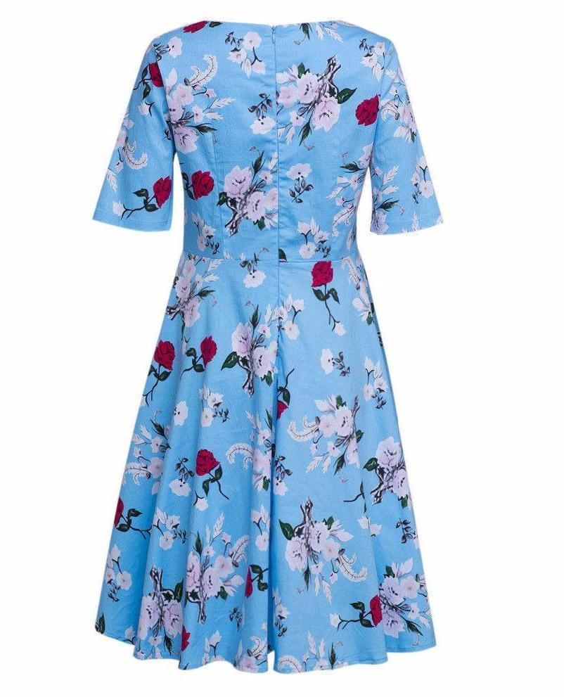 2 Colors Pink Blue Floral Midi Skater Dress Plus Size Half Sleeve A Line Party Vintage Elegant Streetwear Women Summer-Dress-SheSimplyShops