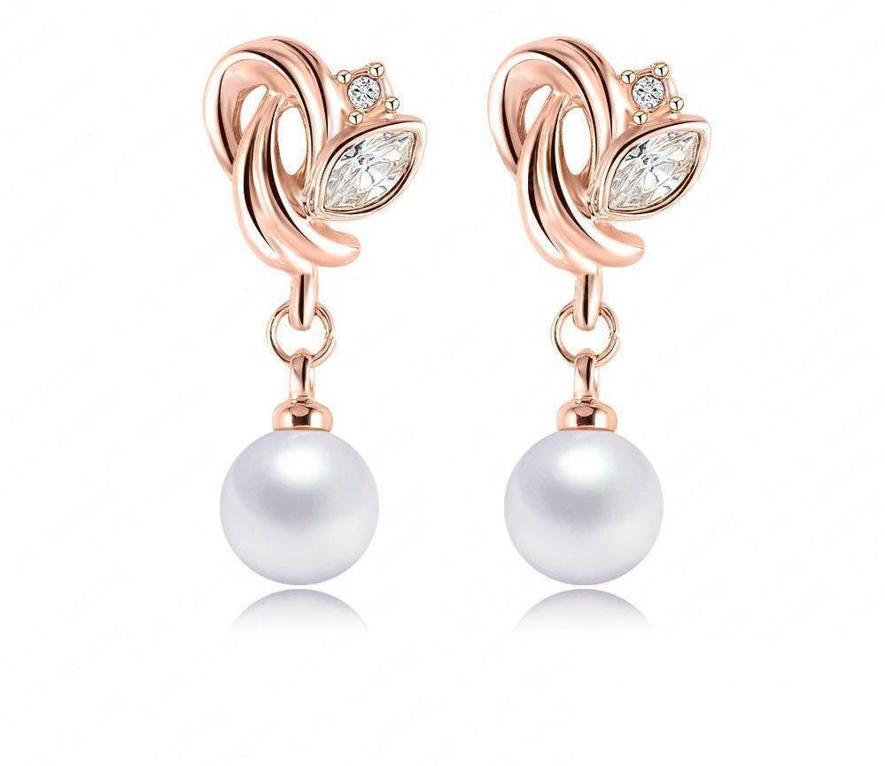 LZESHINE Fashion Jewelry Pearl Earrings Rose Gold Plate SWA Element Austrian Crystals Flower Earrings For Women-EARRINGS-SheSimplyShops