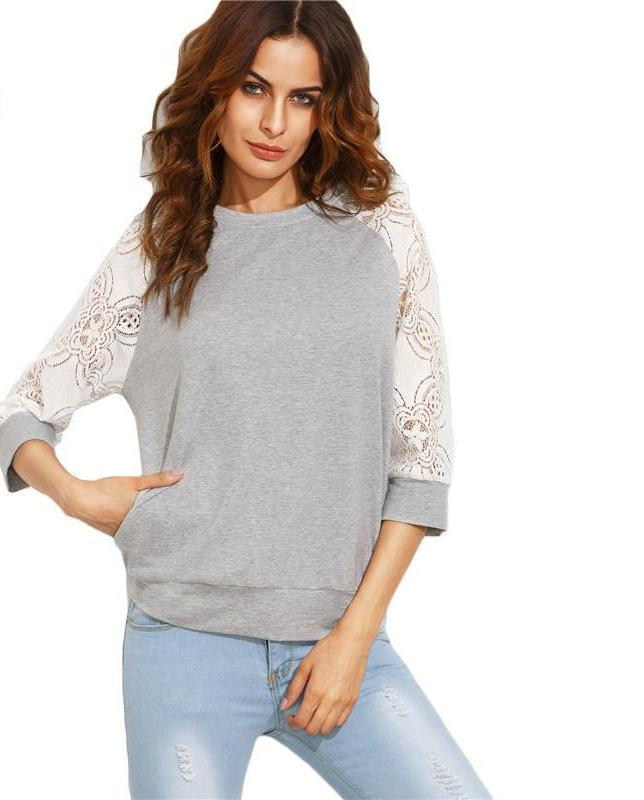 SheIn Color Block Pullovers For Women Heather Grey Round Neck Contrast Lace Raglan Three Quarter Length Sleeve Sweatshirt-HOODIES-SheSimplyShops