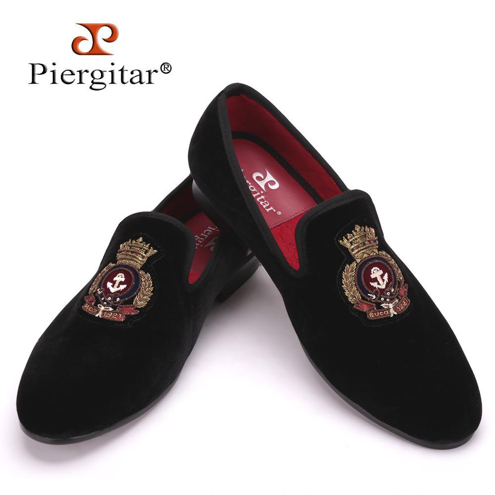 New style men Velvet shoes with Hand stitch Bullion embroidery Party and Banquet Male Loafers Men Flats-SLIPS-SheSimplyShops