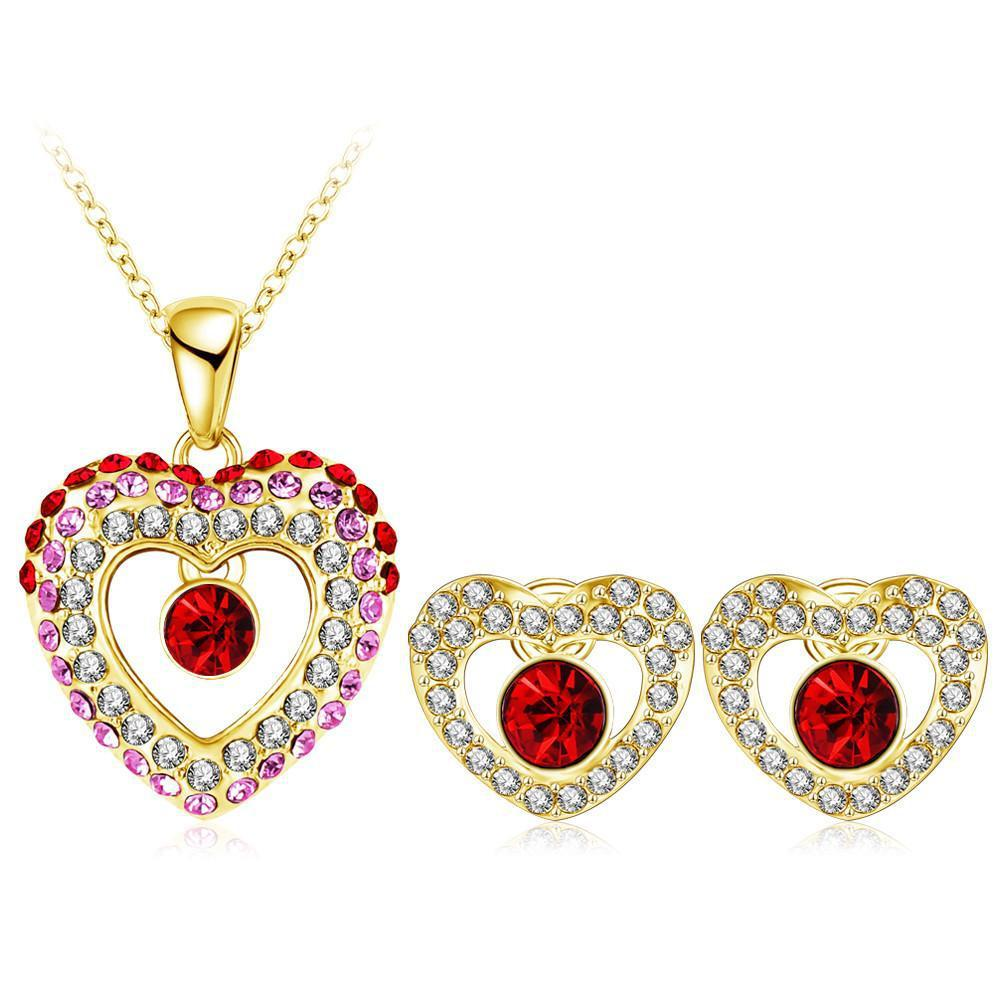 Heart Crystal Pendant/Earring Stud Jewelry Sets-EARRINGS-SheSimplyShops