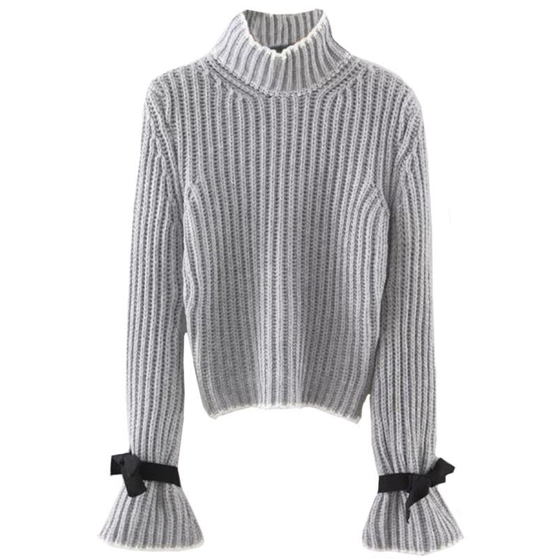 SheIn Womens Fall Fashion Women Sweaters and Pullovers Turtleneck Sweater Bow Embellished Long Flare Sleeve Sweater-SWEATERS + CARDIGANS-SheSimplyShops