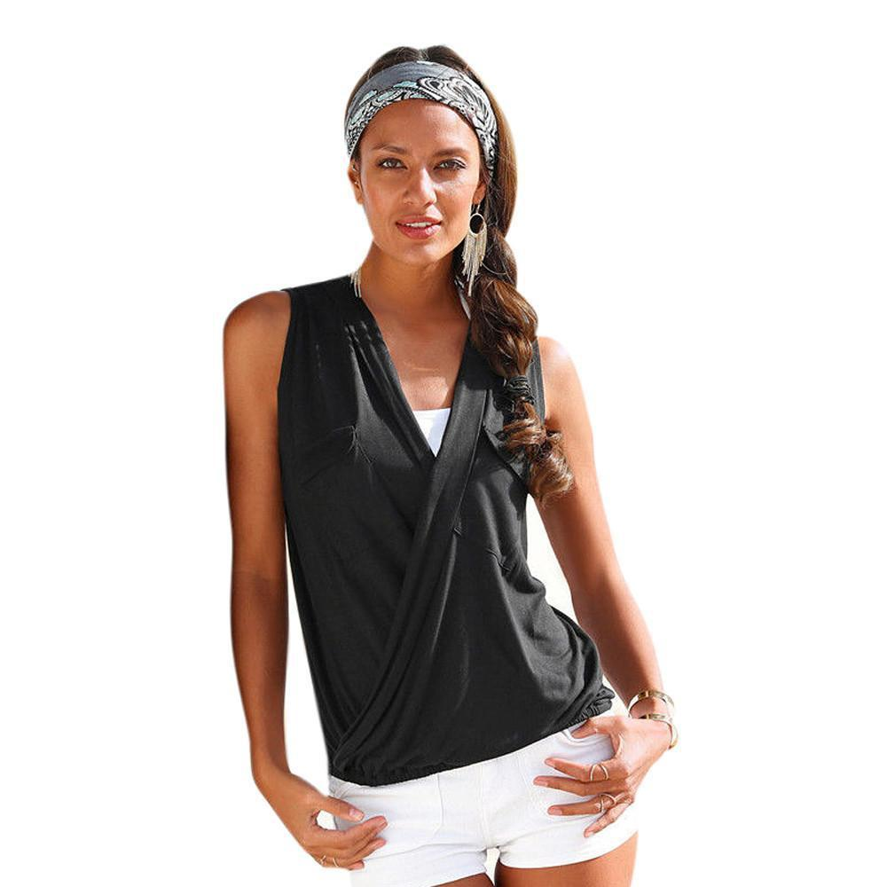 V Neck Casual Tops-Blouse-SheSimplyShops