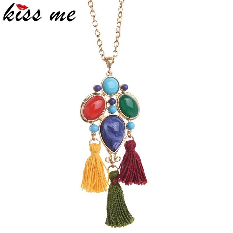 Long Colorful Artificial Gems Rope Tassel Pendant Necklace Spring Jewelry for Women Gift New Design-NECKLACES-SheSimplyShops