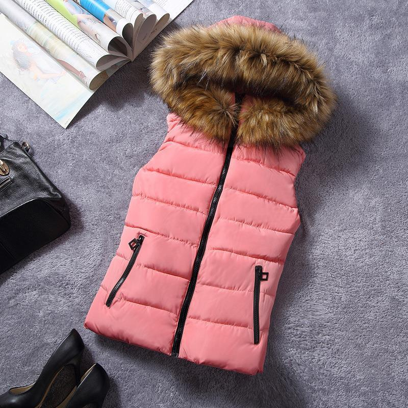 New for winter fur collar vest down Joker cotton hooded vest women's vest-Coats & Jackets-SheSimplyShops