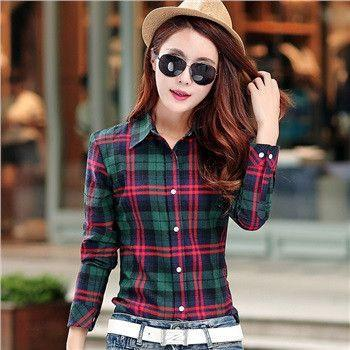 Brand New spring 100% cotton women's blouses plaid shirt female long sleeve casual slim plus size shirts women tops blouse-Blouse-SheSimplyShops