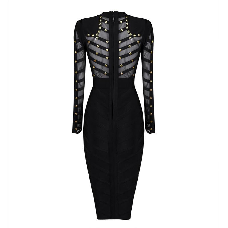 Long sleeve Studded Mesh Bodycon Dress-Dress-SheSimplyShops