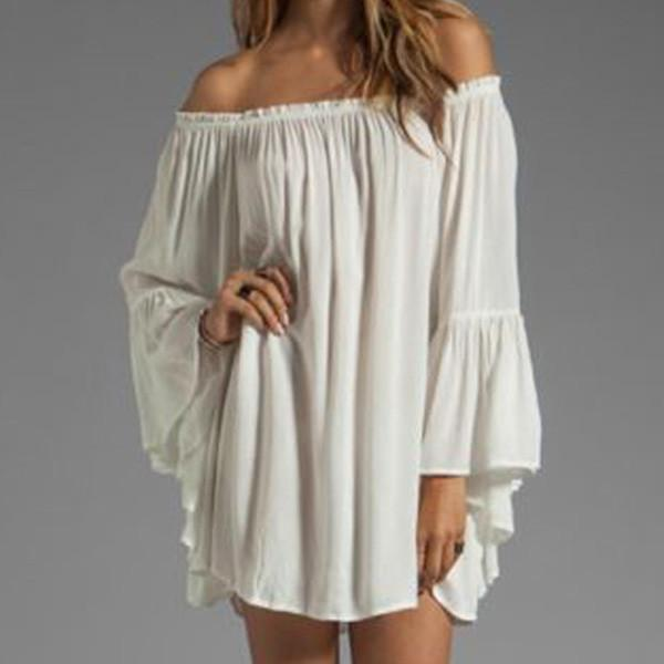 Summer Women Sexy Off Shoulder Chiffon Dress Long Sleeve Mini Short Dresses Vestidos Strap Shirt Tops-Dress-SheSimplyShops