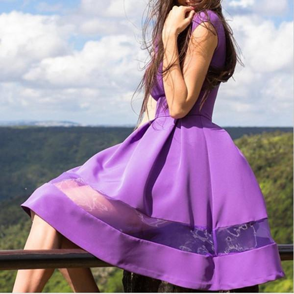 New Arrival Women Fashion Princess Dress Cute Ball Gown Chiffon O-Neck Silk Knee-Length Summer Casual Party Dresses Black Purple-Dress-SheSimplyShops