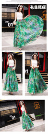 Flower Print Elastic Peacock Patterns Bohemian Maxi Skirt-Dress-SheSimplyShops