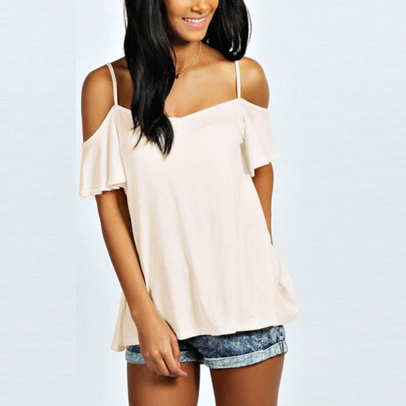 Sexy Off Shoulder T-Shirt Summer Style Women Slash Neck Short Sleeve Casual Solid Stretch Tops Tee-SHIRTS-SheSimplyShops