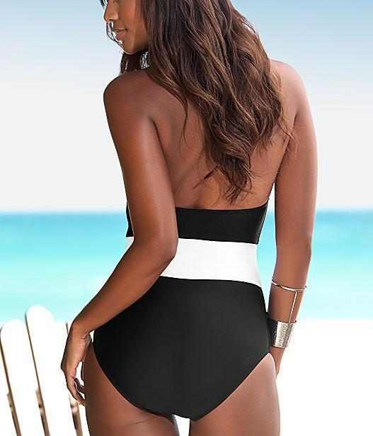 Sexy Women Swimwear New one piece Swimsuit Beachwear Swim Suit Vintage One Piece Women Bathing Suits Black/Blue HW1657-SWIMWEAR-SheSimplyShops