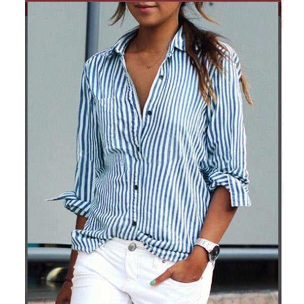 Casual Striped Shirt-Tops-SheSimplyShops