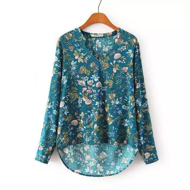 Brand Women Vintage Floral Print Blouse Long Sleeve V Neck Elegant Shirts Casual Loose Plus Size Pullover Cotton OL Blouses Tops-Blouse-SheSimplyShops