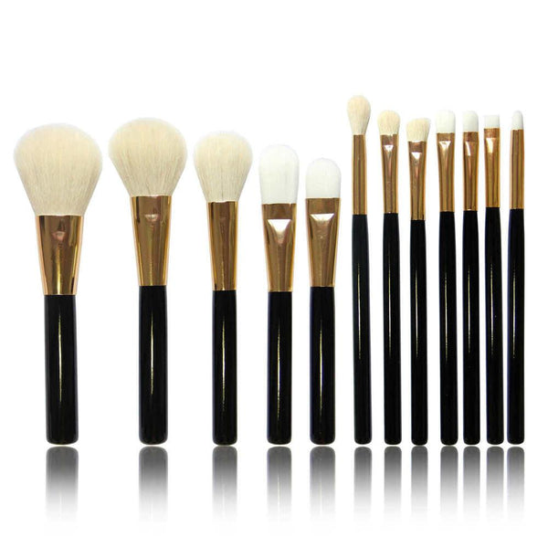 Hot Selling 12 PCS Goat Hair Makeup Brushes Professional Makeup Brushes Tools Set Make Up Brushes Kit Beauty Brushes for Makeup-SheSimplyShops
