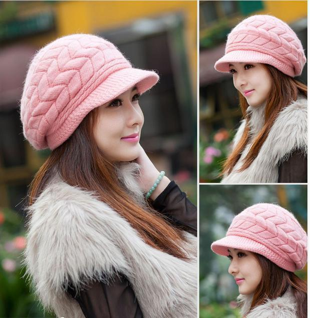 New Women Hat Winter Beanies Knitted Hats For Woman Rabbit Fur Cap Autumn And Winter Ladies Fashion Skullies-BEANIES-SheSimplyShops