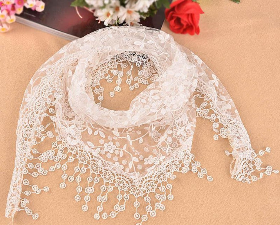 New Women's Soft Lace Triangle Wrap Shawl Chiffon Scarf Long Voile Stole Scarves-SCARVES-SheSimplyShops