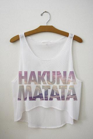 Summer Latest Style Women T shirt Hakuna Matata Print Casual T-shirt Casual Cropped Top F1037-SHIRTS-SheSimplyShops