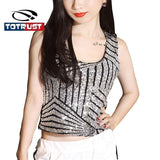 Sexy Black Silver Gold Sequin Tank top Womens Casual Sleeveless Vest Crop 2016 Hot Ladies Short Camisole Tank Top BodyBuilding-SheSimplyShops