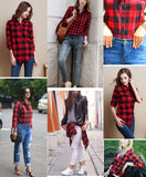 Black And Red Flannel Plaid Shirt-Tops-SheSimplyShops
